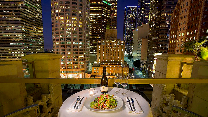 The Mayflower Rooftop Restaurant at The Hilton Checkers Hotel Los Angeles