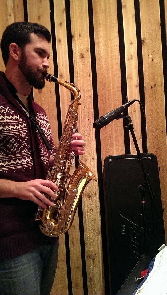 John Hilsen recording saxophone