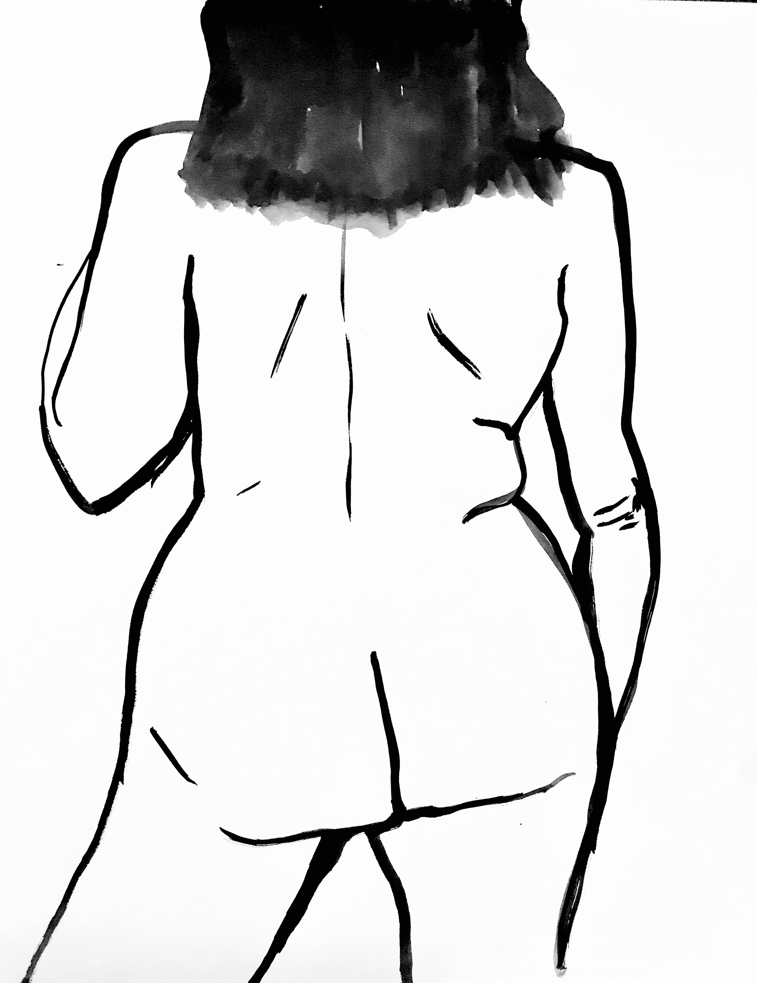 figurative studies - India ink drawings inspired by local womxn contributing to The Body Project