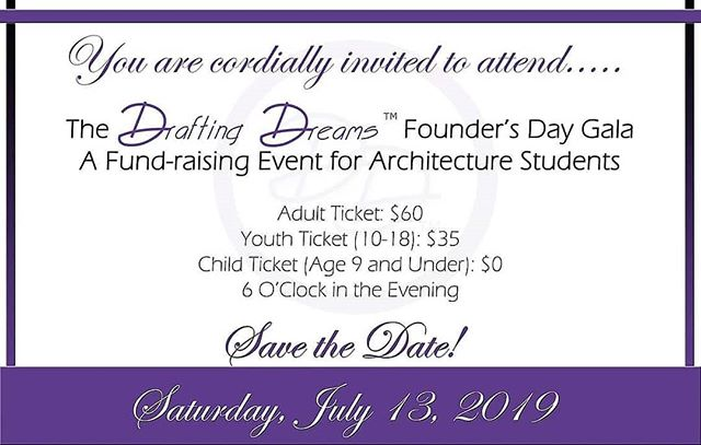 Tickets for The Drafting Dreams Founder's Day Gala are officially on sale! Sponsorship opportunities are available as well! Join us as we honor the namesakes and families of our Scholarship Funds and continue to raise money for each fund! . For Tickets, visit the link in our bio! . 50% of your ticket price is tax-deductible. Proceeds will benefit the following categories: -Scholarships for High School Students -Sponsorships for College Students -Awards for Conference Travel for Students -Support for Underfunded Schools of Architecture -Financial Assistance to students and families affected by gun violence. . #DraftingDreams  #teachk12architecture  #fundraiser #scholarship #gala #Architecture  #education