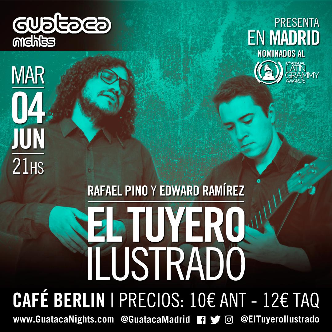 El proyecto de los talentosos músicos venezolanos       Edward Ramírez (cuatro) y Rafael Pino (cantautor), nominado al Grammy Latino en 2017, regresa a Madrid en una única presentación en el Café Berlín como parte de su gira    Buen Viaje 2019
