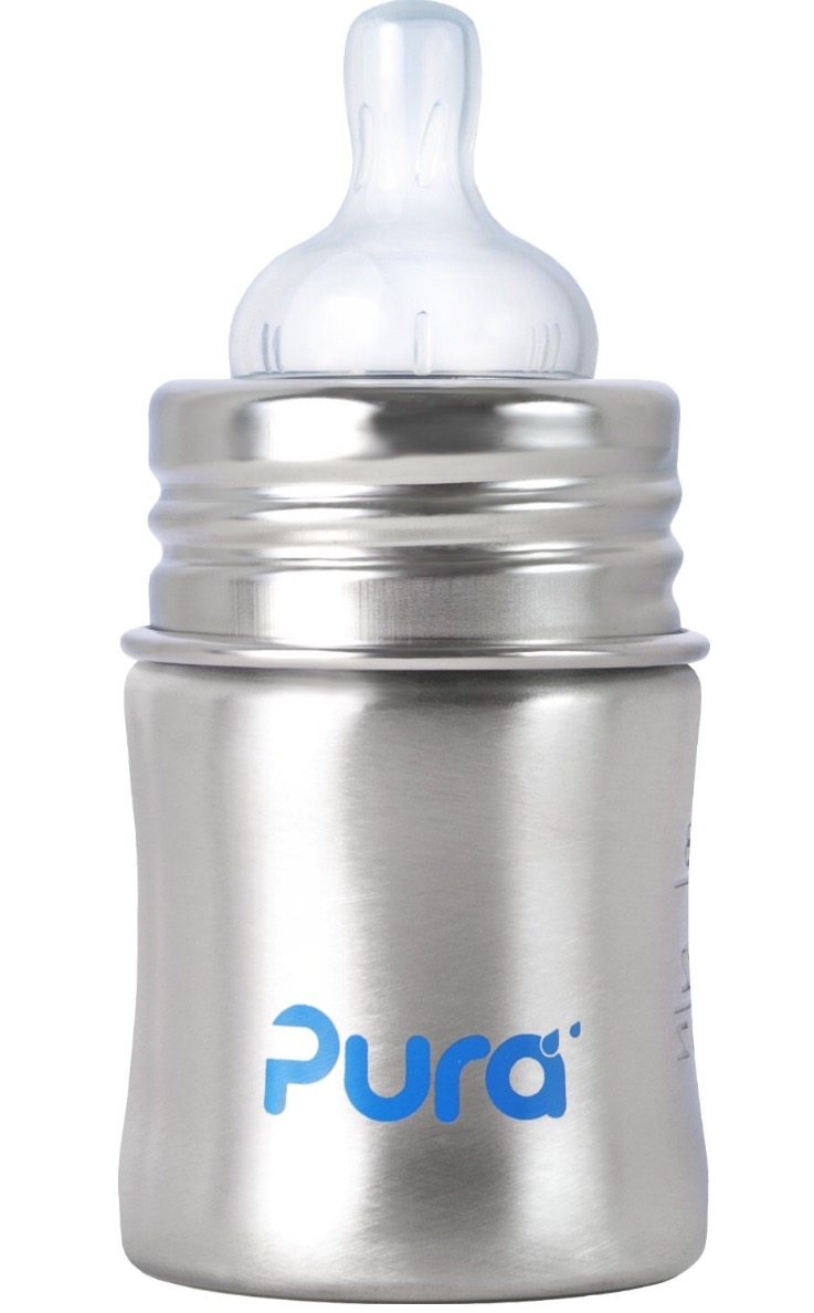 Pura Kiki Stainless Infant Bottle Stainless Steel with Natural Vent Nipple, 5 Ounce