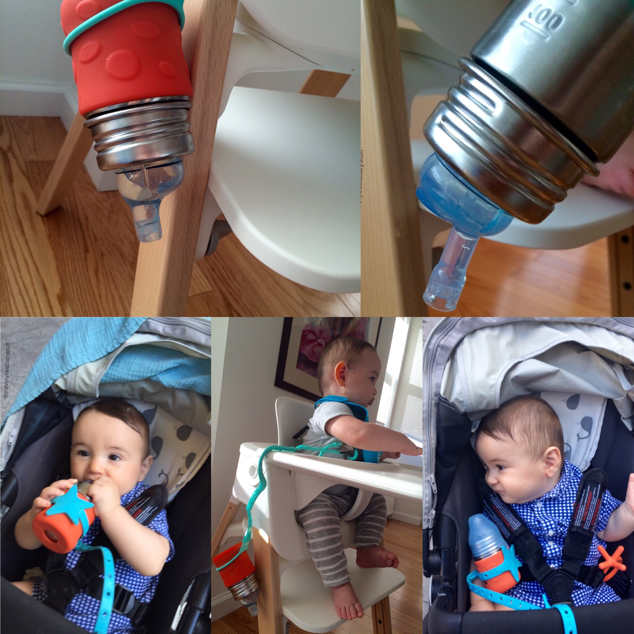 When my son was younger I would use the  Brilli  or  Lil Sidekick  leash to keep the  sippy cup  from falling off the  high chair  or out of the  stroller . See how it dangles upside down without dripping at all? You can buy the leashes by clicking   here  or  here .