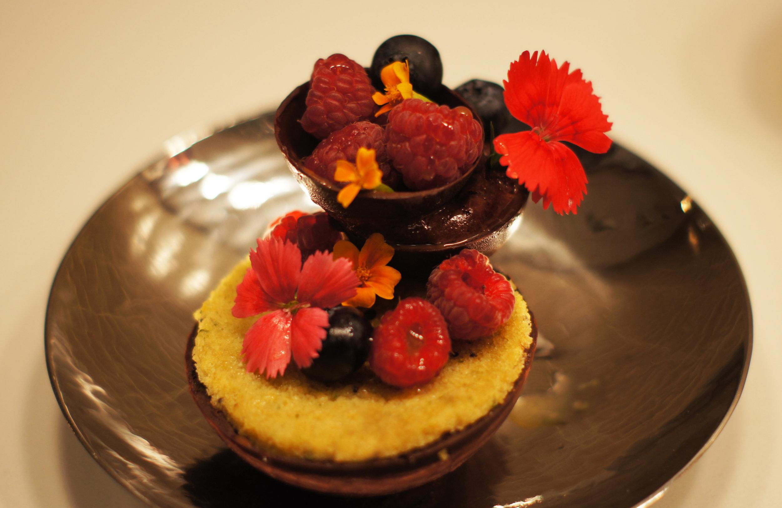 Chocolate forest 70% chocolate mousse, cilantro madeleine and raspberry gelee dessert