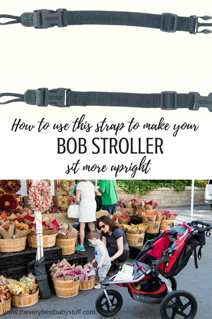 BOB stroller hack -- using a connector strap to make it sit more upright