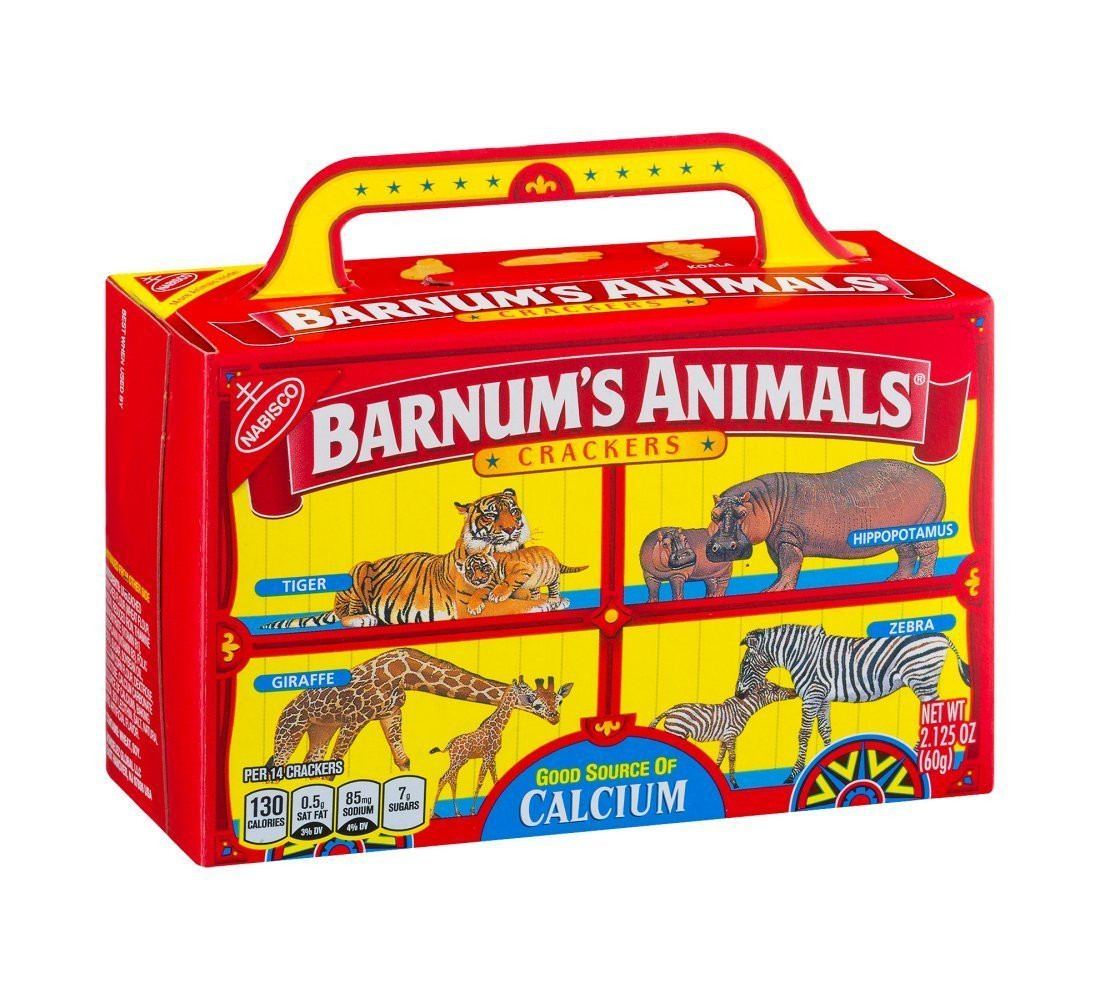 These animal crackers were cute and on theme.   I used the ones in the snack bags because I wasn't sure the boxes would fit.  You can find either  here .