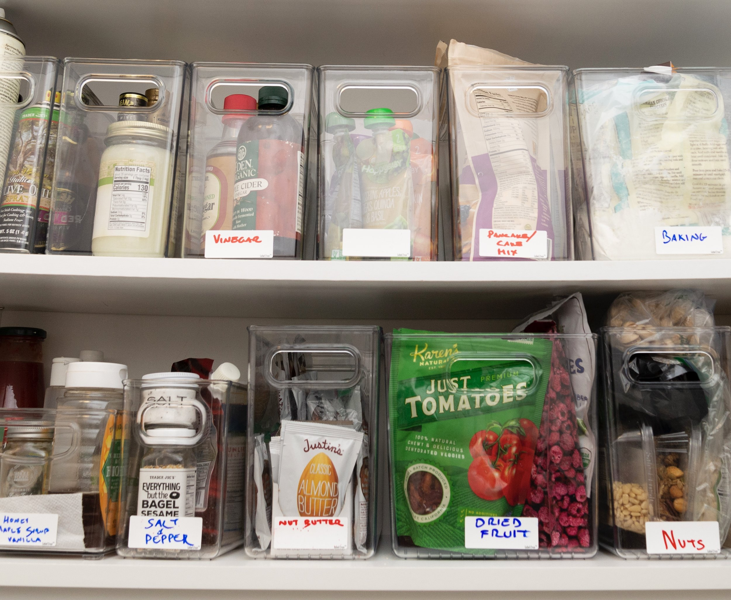 Miriam's food cupboard. Miriam likes to label the containers (and lots of other things) with  erasable labels  to make it easy to reorganize and repurpose containers.  These labels  are dishwasher safe, so can be used to label and date food containers too.