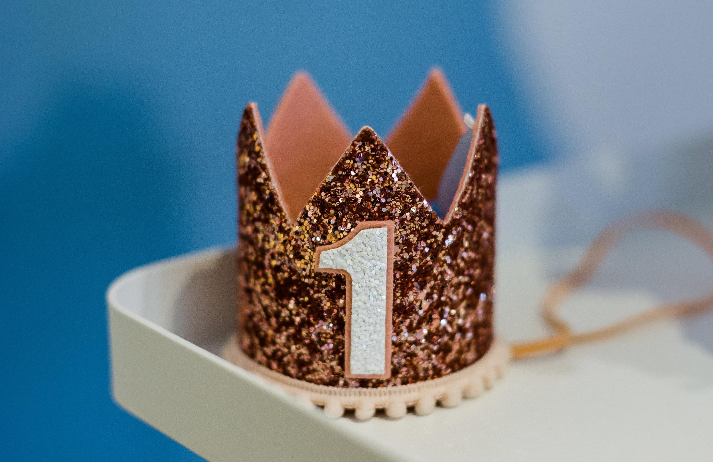 rose+gold+first+birthday+crown