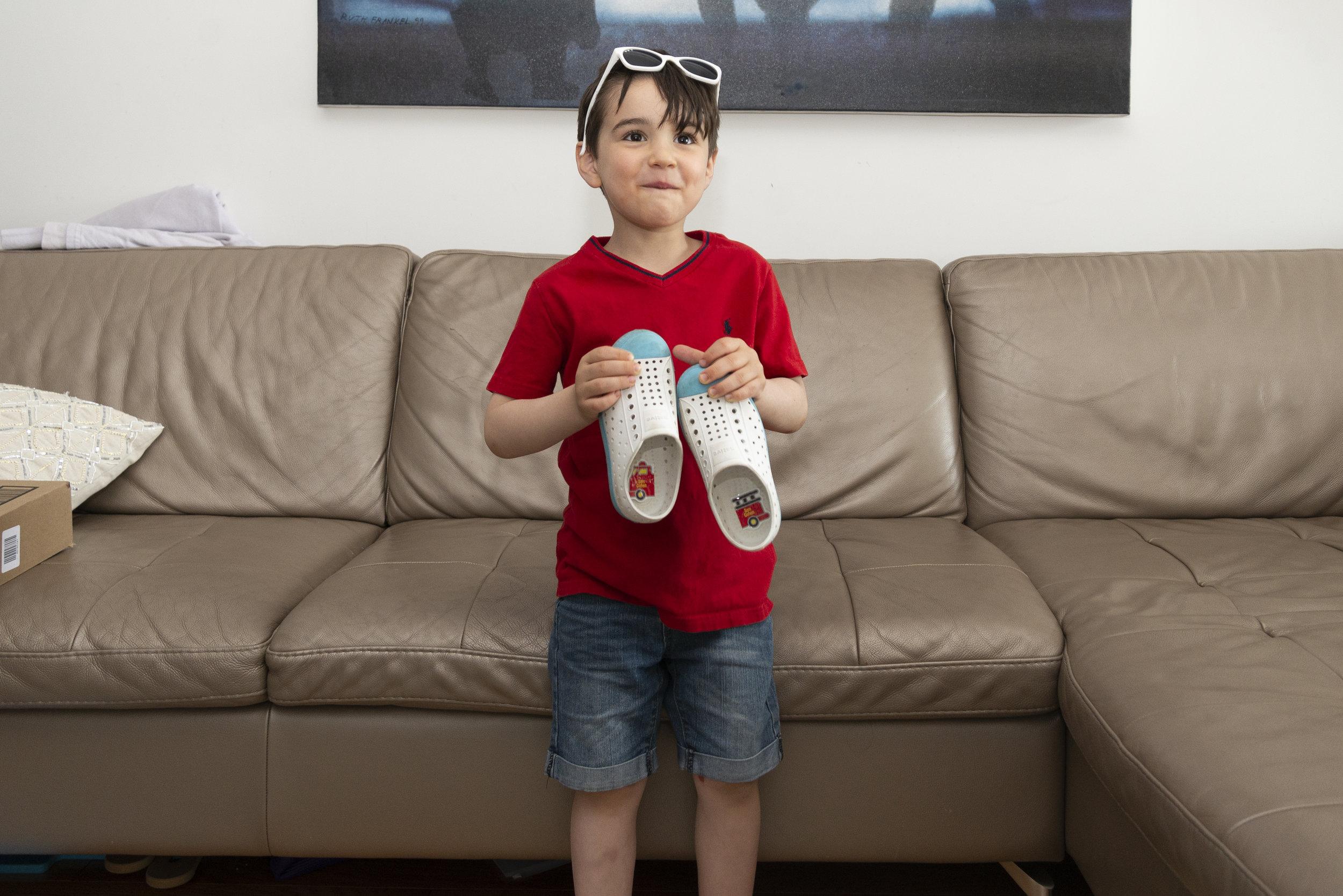 preschool shoe labels fire truck