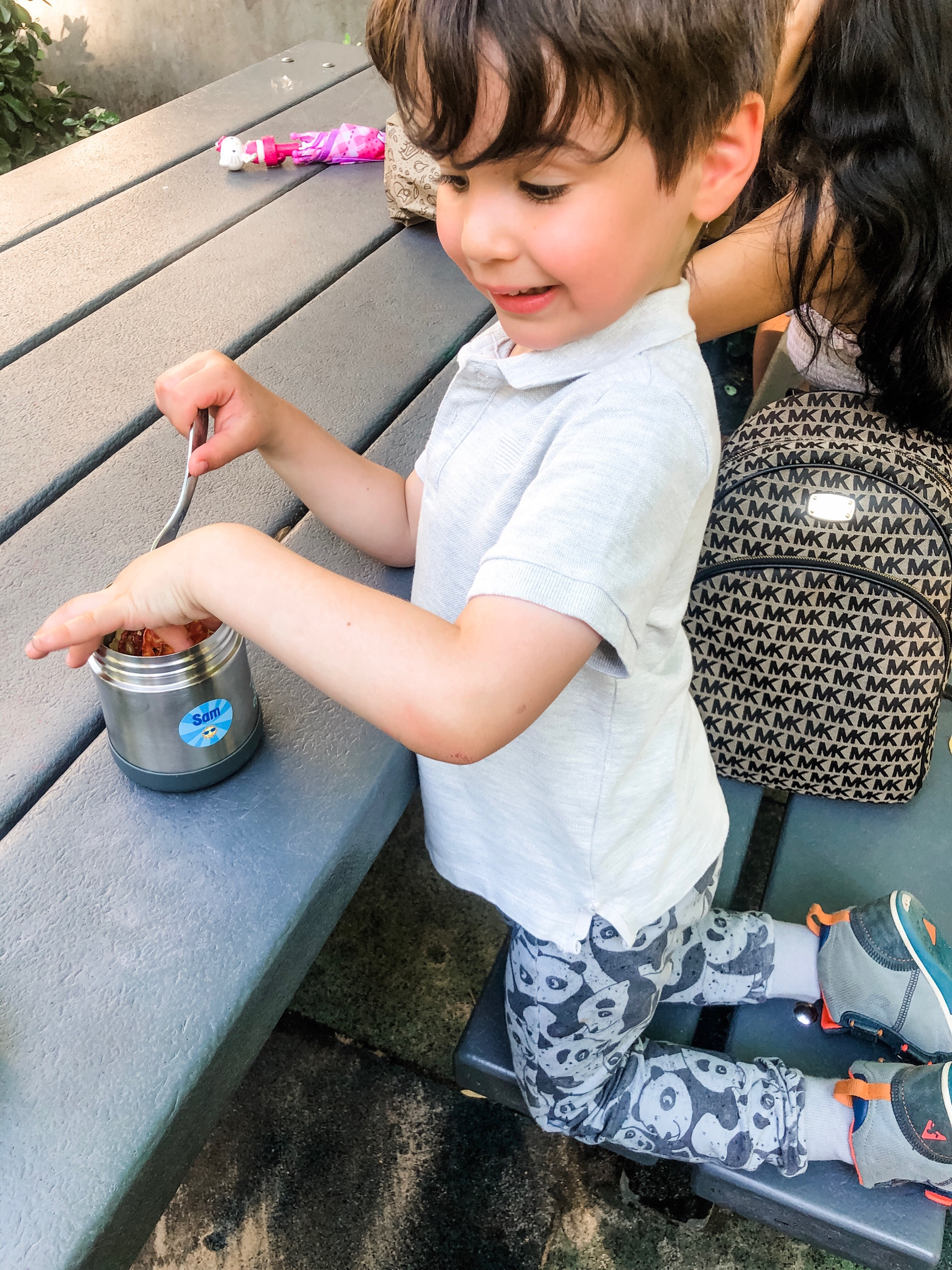 Dining al fresco at the playground! Thermos labeled with a  personalized round label .