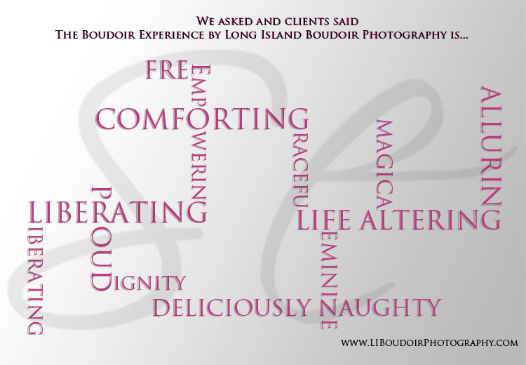 The Long Island Boudoir Photography Experience is...word art based on client responses