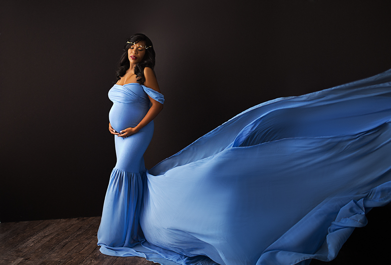 Maternity photography; maternity dress; studio gown; borrow this dress for your shoot; couture pregnancy gown; blue maternity dress; maternity shot by Susan Eckert of Long Island Boudoir Photography