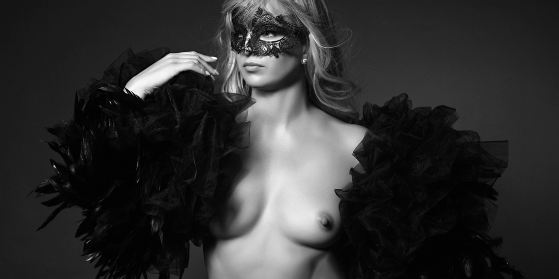 Mask and feather sleeves custom made for Long Island boudoir photography; borrow them for your shoot!