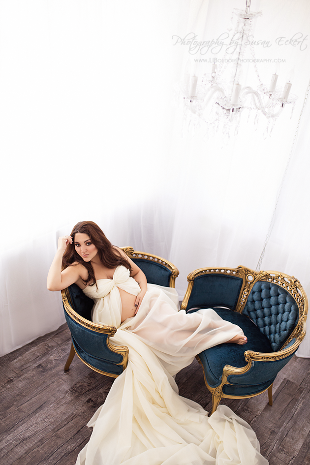Custom gown at Long Island Boudoir Photography - one size fits all; Vintage chairs and chandelier for a beautiful timeless look!