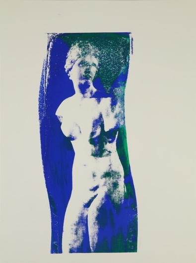 Aphrodite  (blue and green) Unique Photo Silk Screen 24 x 18 inches