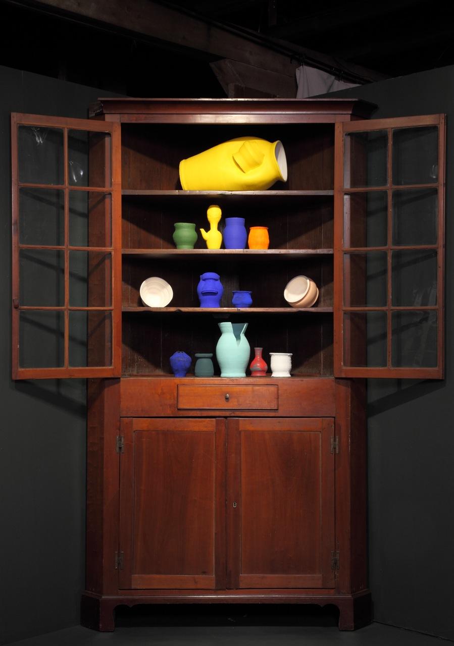Corner Kitchen Cabinet   Made in Tennessee circa 1800s   14 Vessels