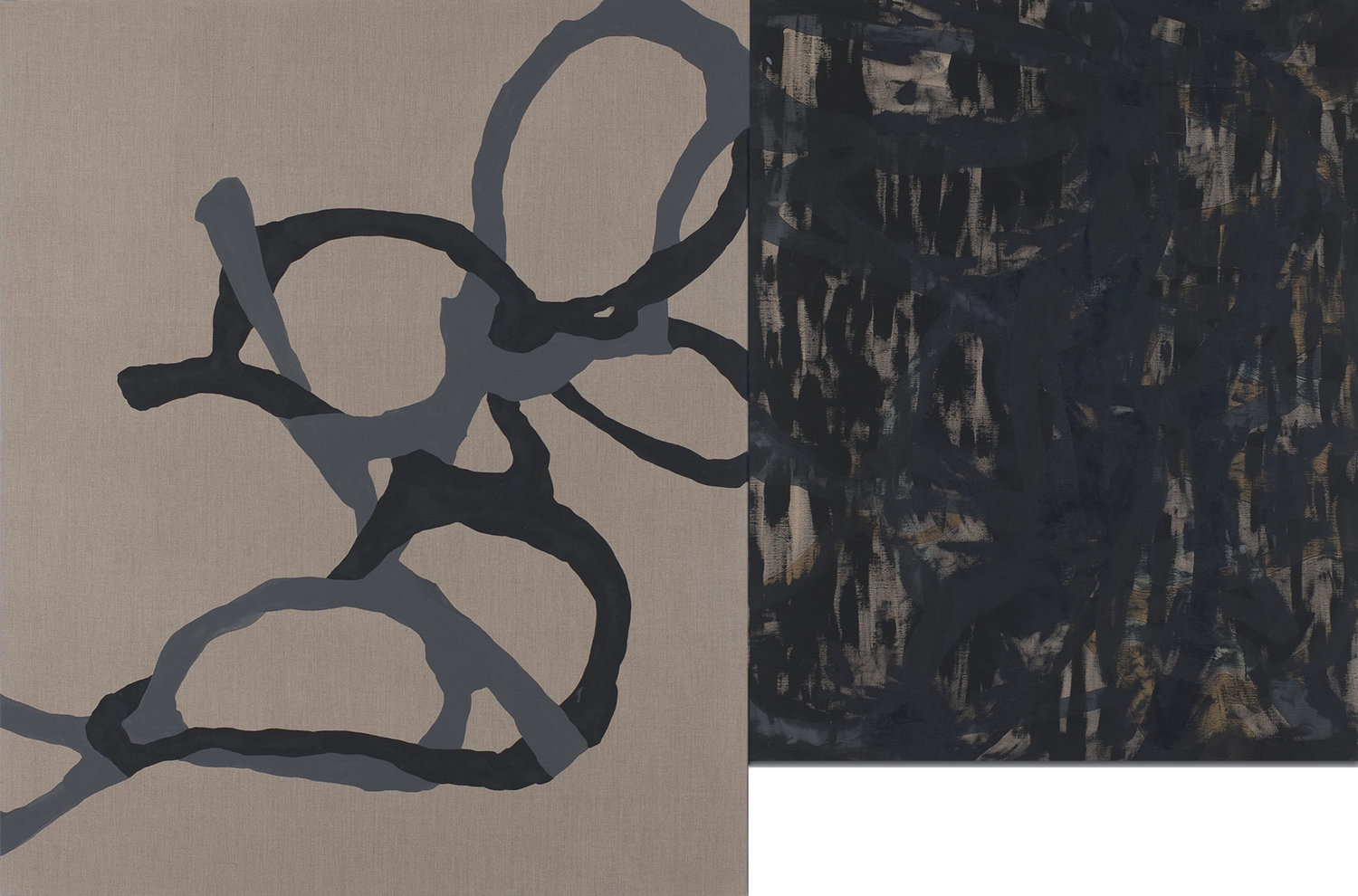 Out of Hand  2010 Black and gray pigment on linen. Diptych 71 x 106 in 180.3 x 269.2 cm