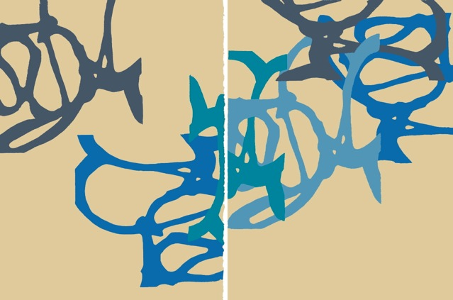 Ride  Diptych 30 x 44 inches Acrylic on paper