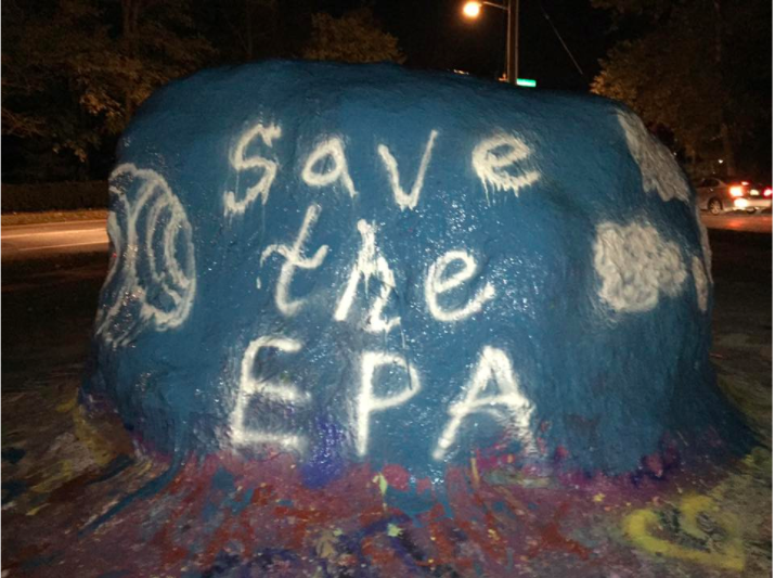 Members painted the rock in November 2016 to bring awareness to issues surrounding the EPA.