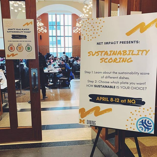 #Repost @michigandining • • • • • • Sustainability geeks: this one's for you! This week in North Quad, we are partnering with Net Impact to bring awareness to the environmental impact of different sources of protein! • • The goal of the project is to help our diners make mindful choices when they're selecting dishes. Scores for each protein were created based on a variety of factors, including whether the food was farmed locally, sustainably, and organically. • • The bowls featured in this picture both scored high marks! Would you go for Hot & Spicy Edamame or Smoked Salmon? Tell us below!!