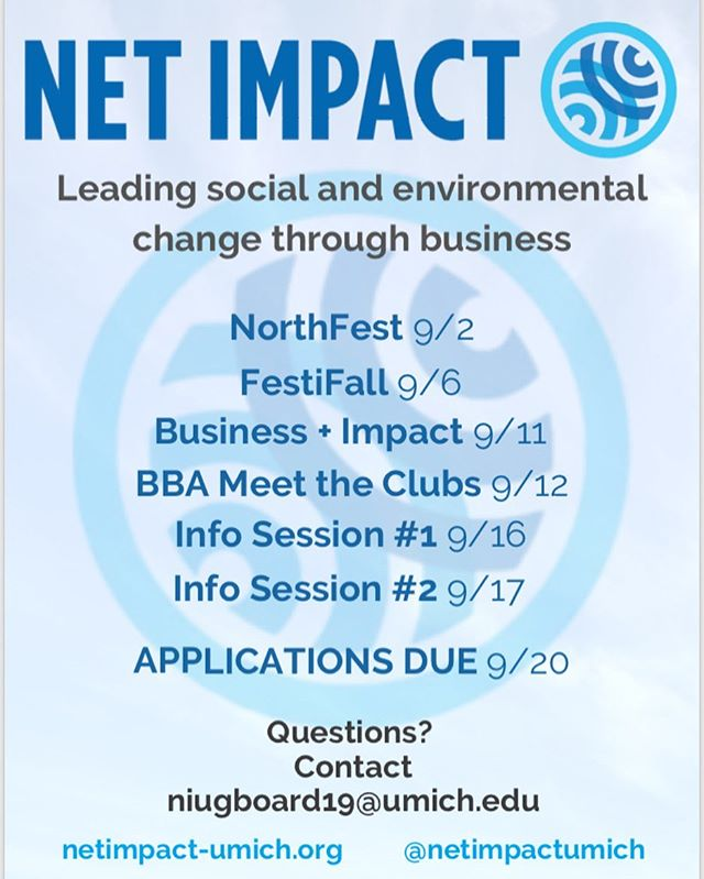 UM Net Impact is BACK and ready for fall recruitment! Stop by our tabling events to say hi and learn more 🌀🍂