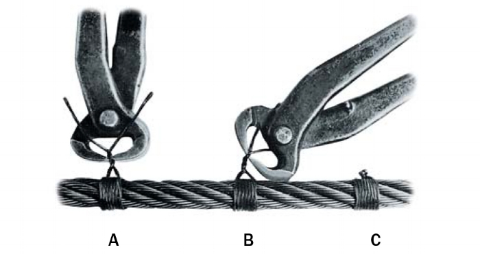 "1. Wind seizing strand around rope at least sevent times, keeping wraps close together and in tension.  Twist ends of strand together by hand.    2. Continue twisting with with nippers to take up slack ""A"".    3. Tighten serving by using nippers as lever against rope ""B"".     4. Twist strand tightly against serving, winding twisted strand into knot before cutting off ends of strand. Pound knot snugly against rope ""C""."