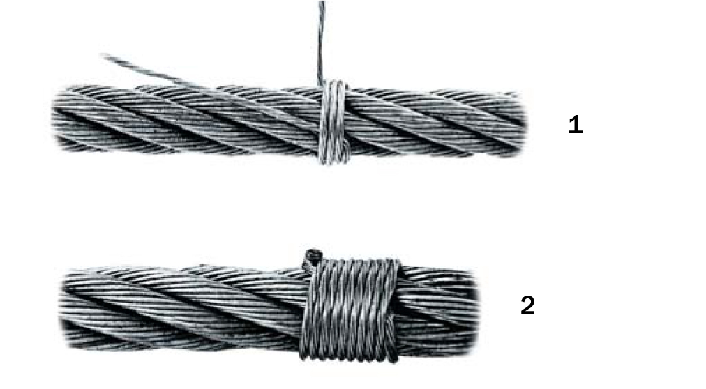 1. Lay one end of the seizing strand or wire in the groove between two strands of the wire rope and wrap the other end tightly over the portion of the groove.    2. Twist both ends of the seizing tightly, cut off the ends and pound the twist flat against the rope