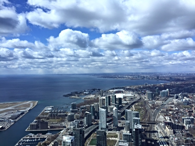 View from the CN Tower of the lake and west side of town (where Danielle and I stayed).