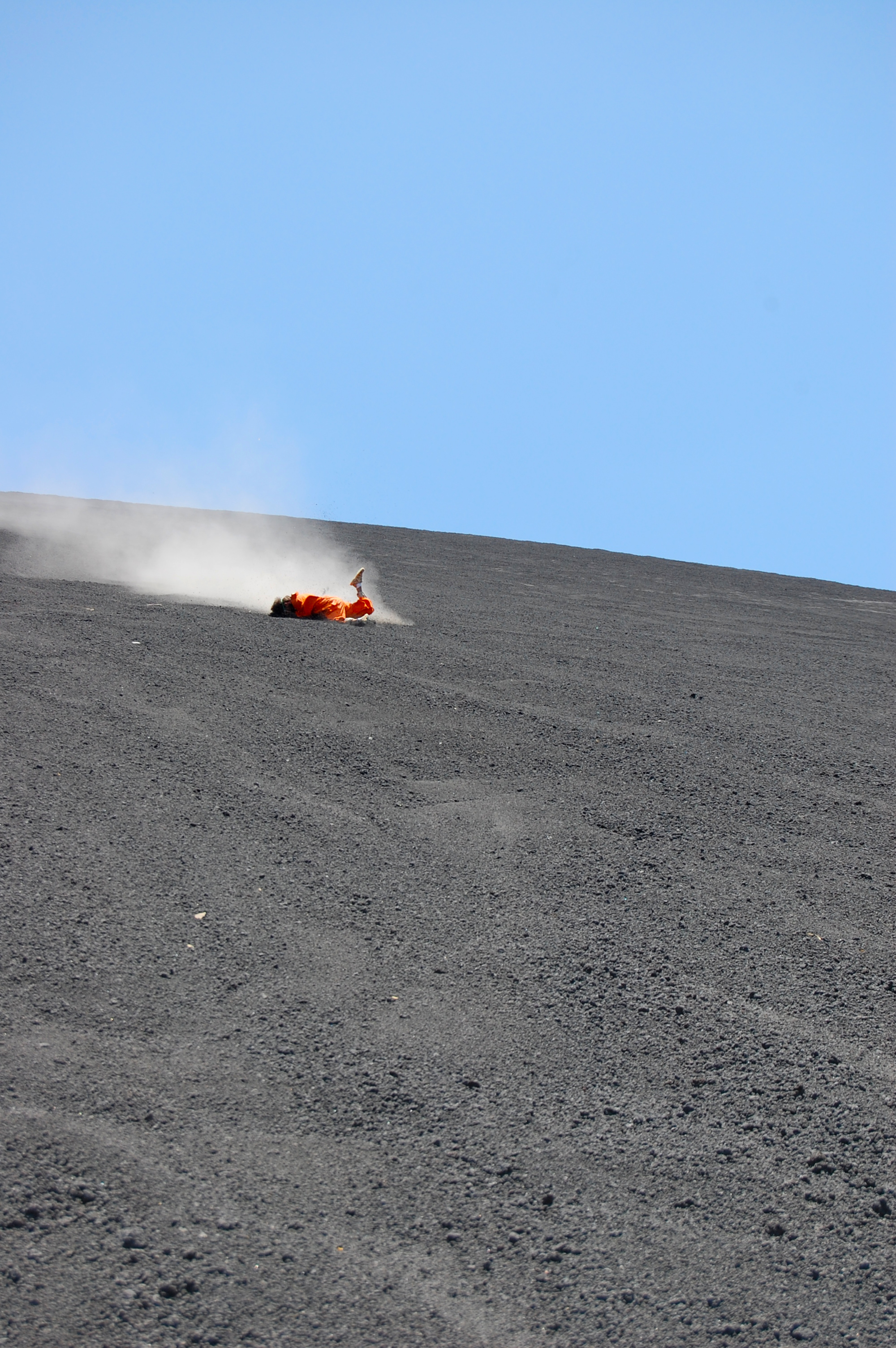 Bouncing off my face while volcano boarding