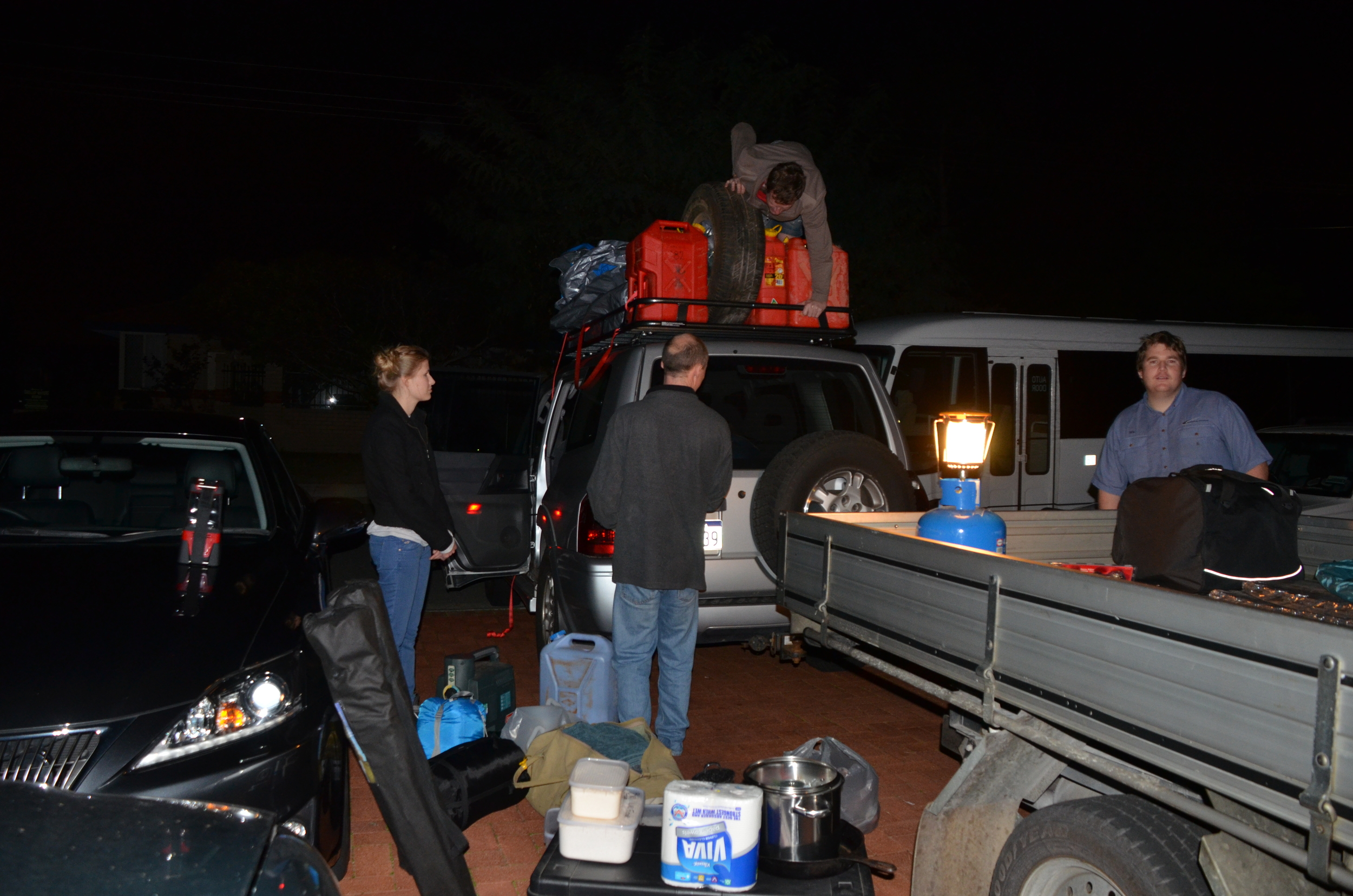 Packing the Pajero the night before we hit the road