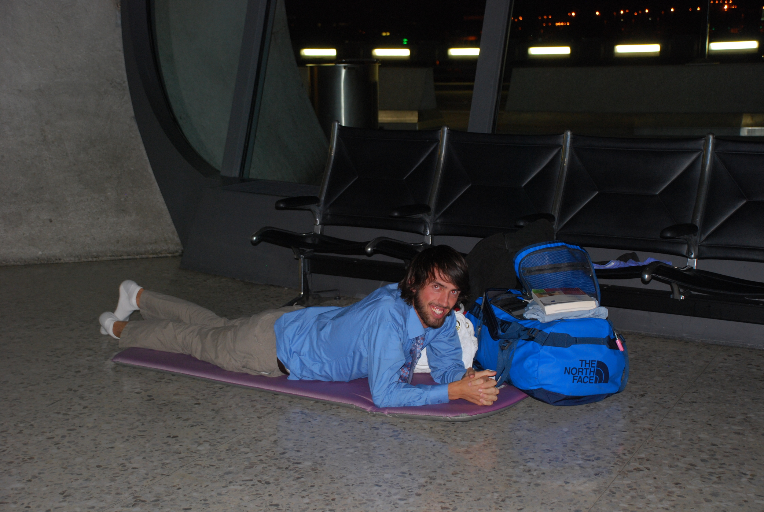 Putting my Therm-a-Rest to use in the airport in D.C. on our way to Africa