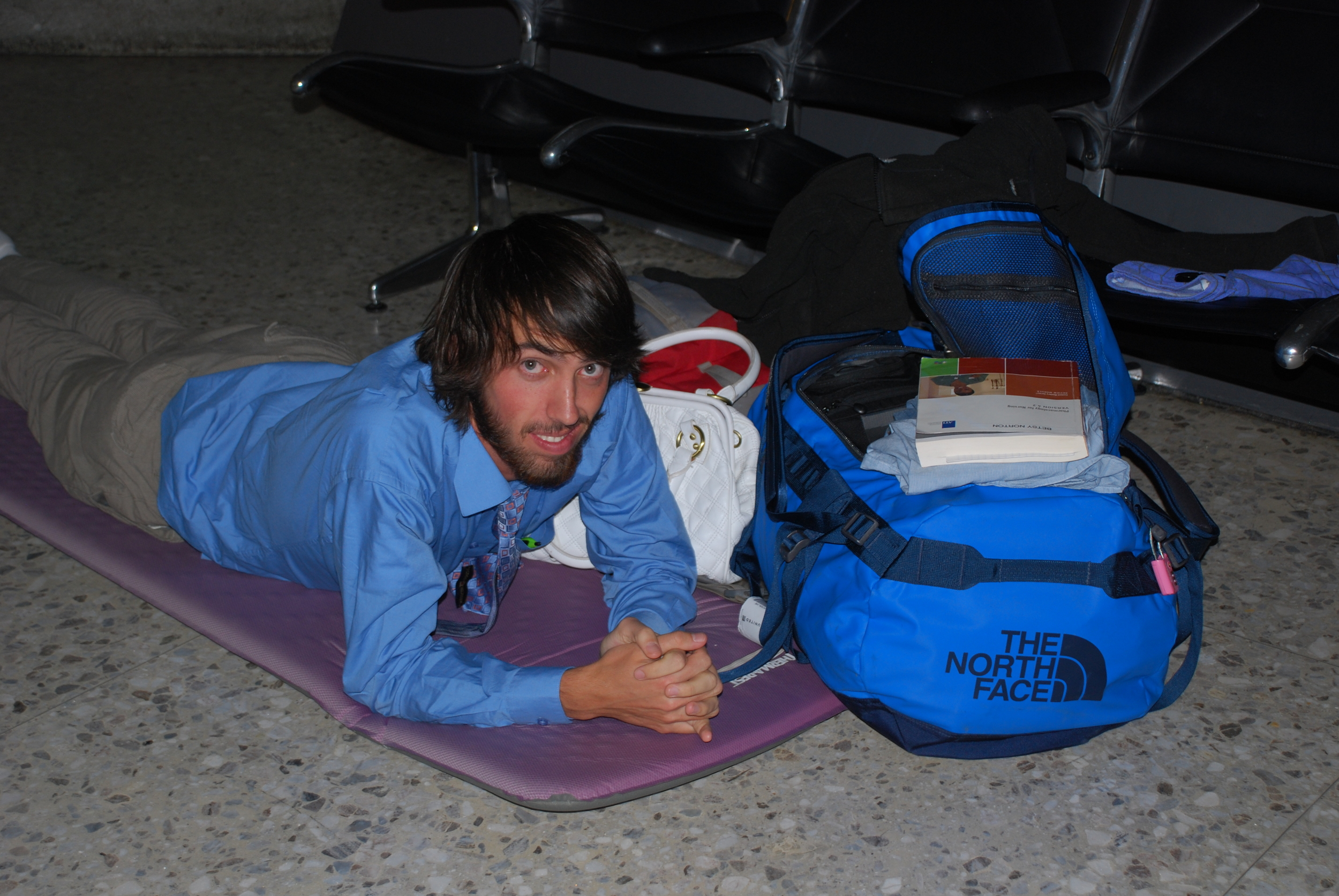 Heading to Africa with my Basecamp Duffel. Yes, we're sleeping on the floor in an airport.