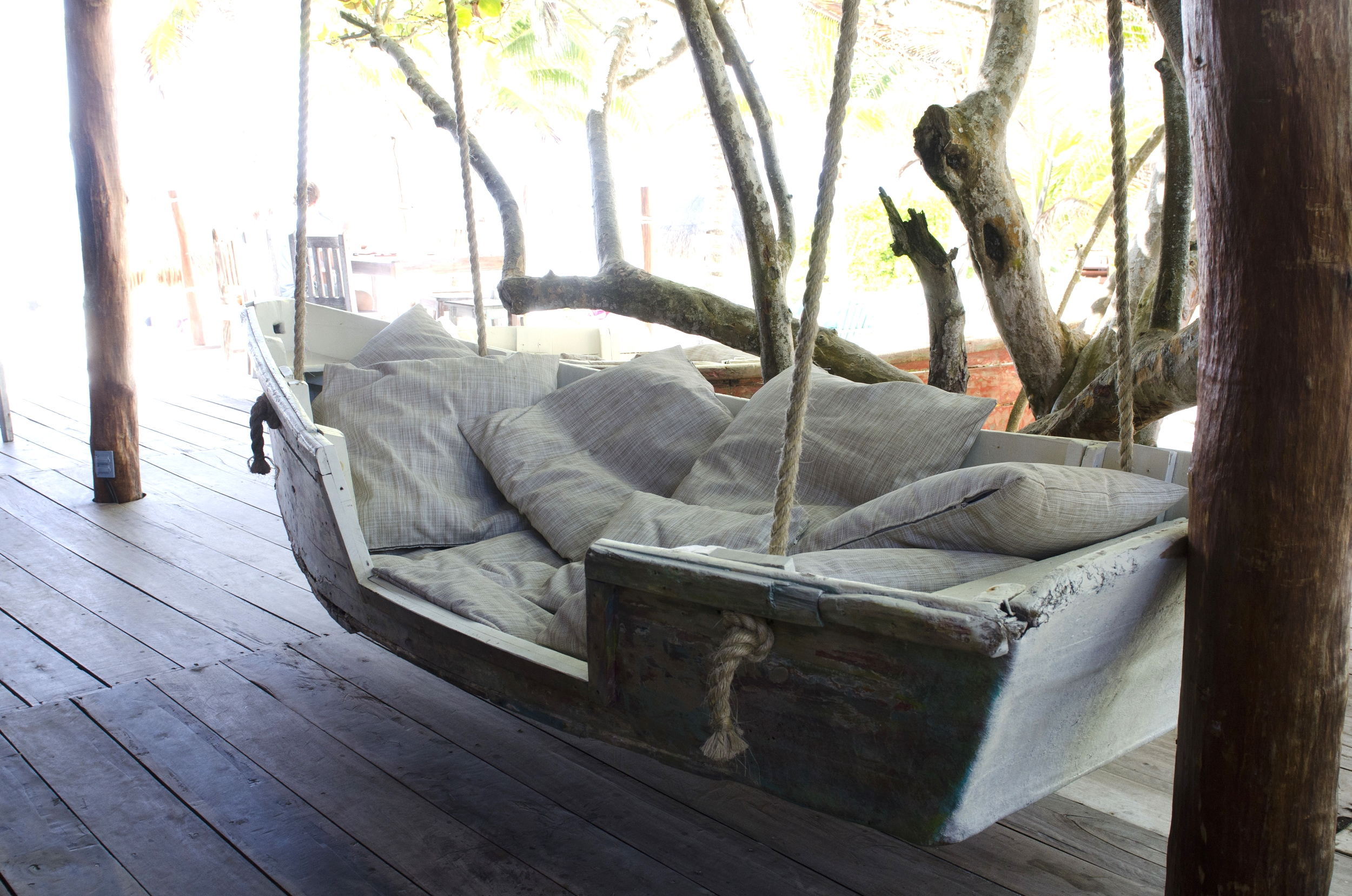 Example of the wonderful creativity exhibited around Tulum: boat swing at one of the boutiques