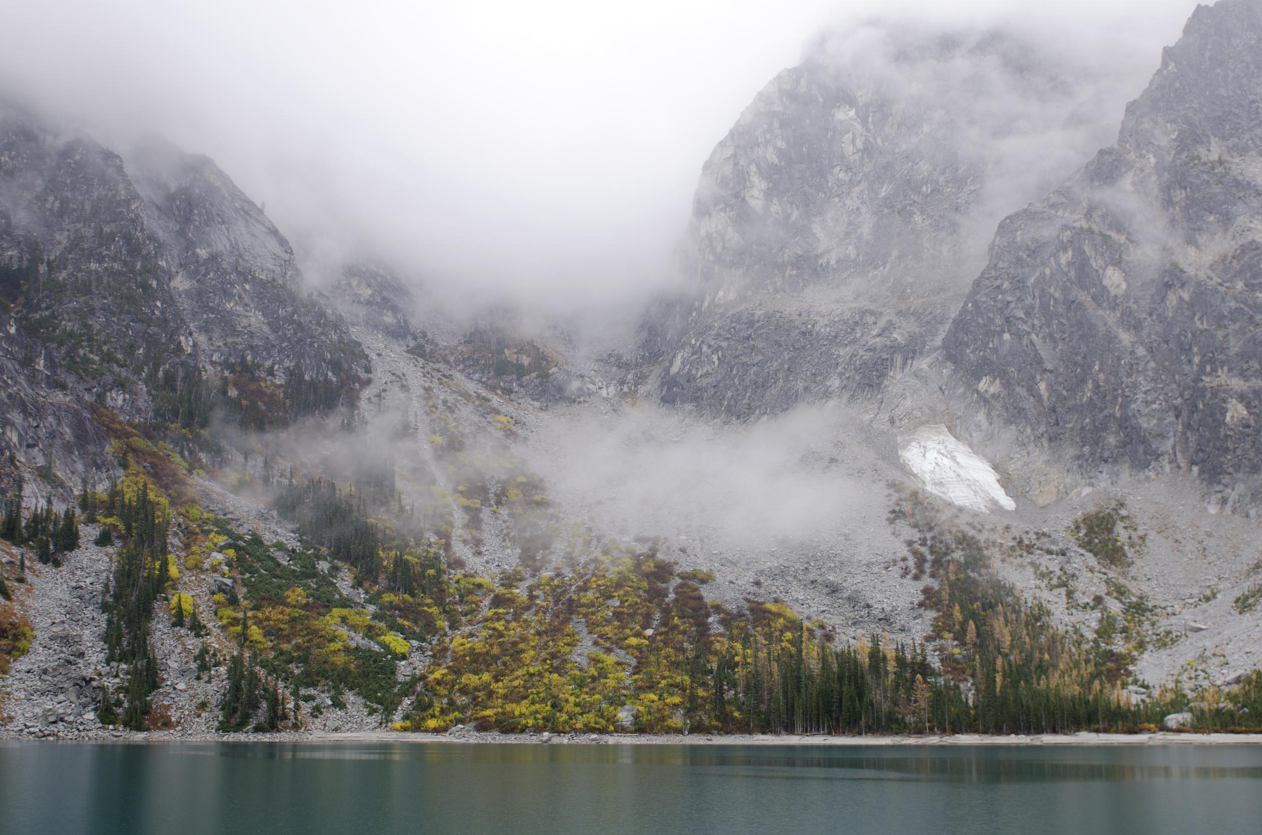 Looking back at Aasgard Pass (summit hidden in fog)