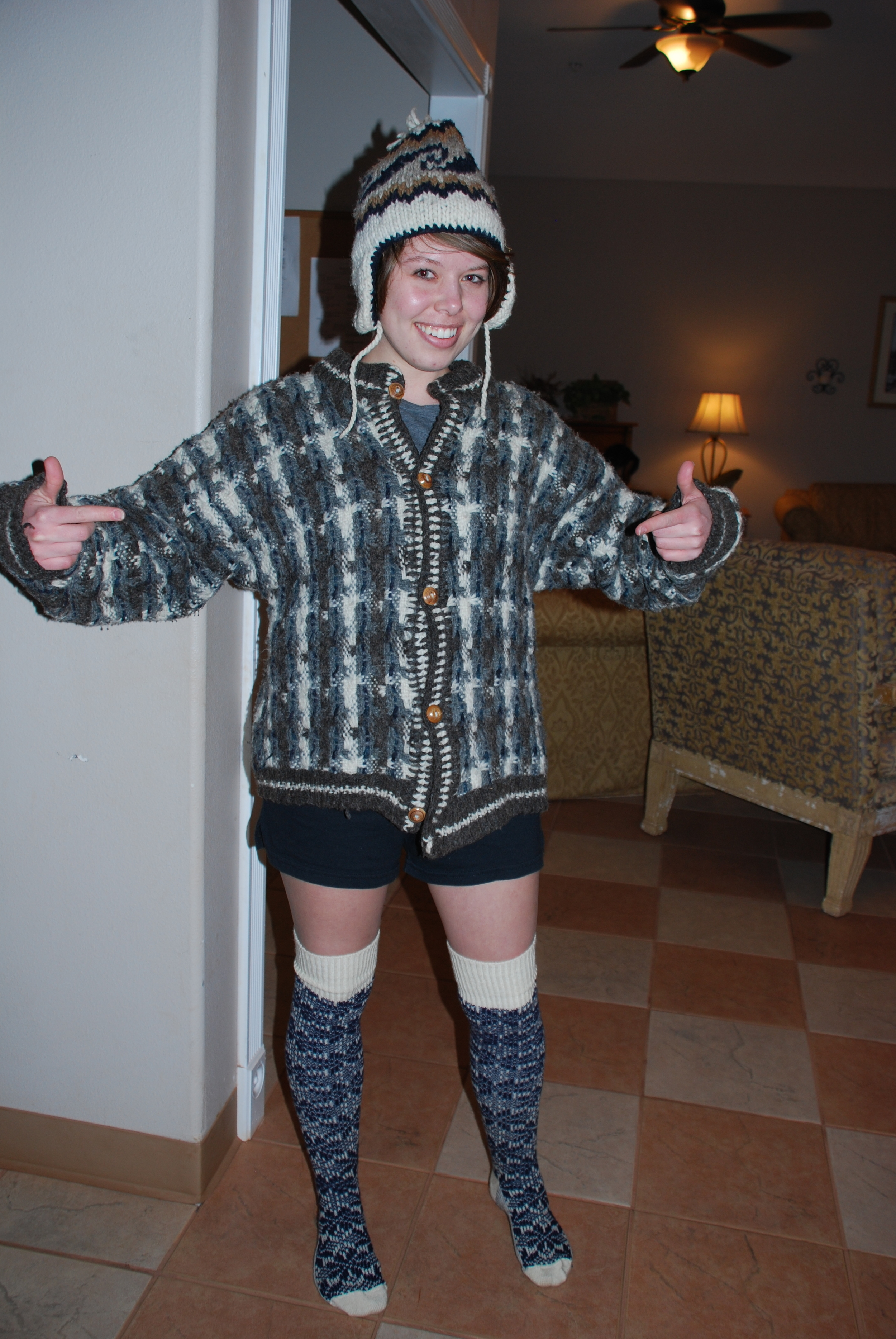 Dressed in cheap used clothing finds during a trip with a sudden change in weather. We weren't winning any beauty awards that's for sure, but we stayed on budget!