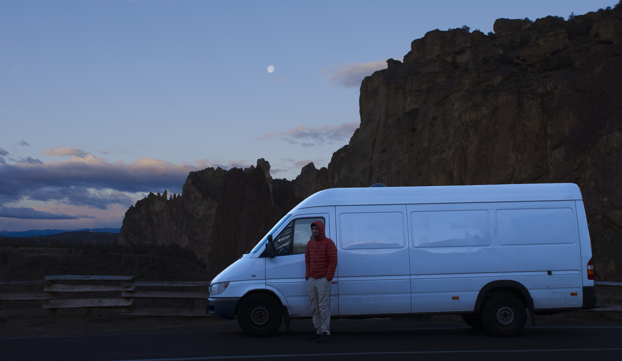 Our only photo with the van at Smith Rock...