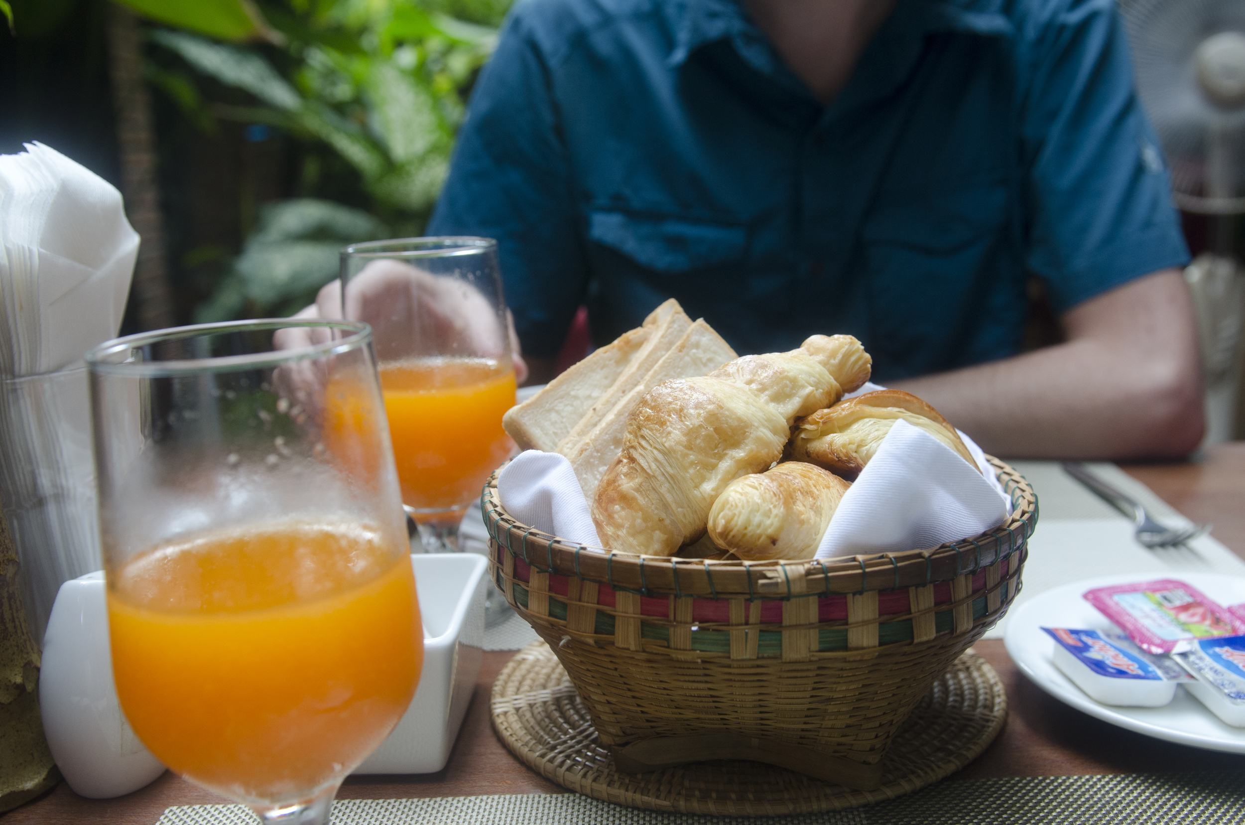 Freshly squeezed orange juice and warm pastries for breakfast