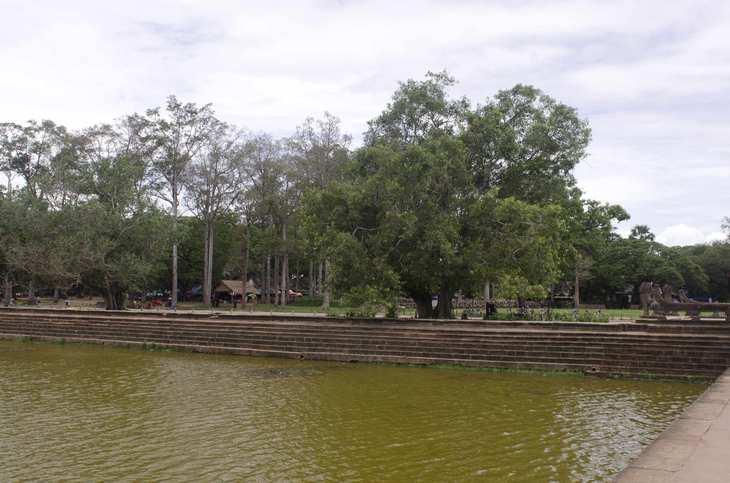 The huge moat that surrounds Angkor Wat