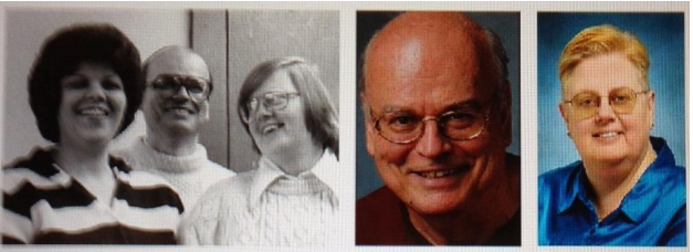 A mid-1970s Coalition leadership photo included Delilah Kenney, Guy Warner, and Chris Riddiough Warner and Riddiough are pictured middle and right in 2007. Photos courtesy Gay Chicago Magazine, Hal Baim und John Fernez.
