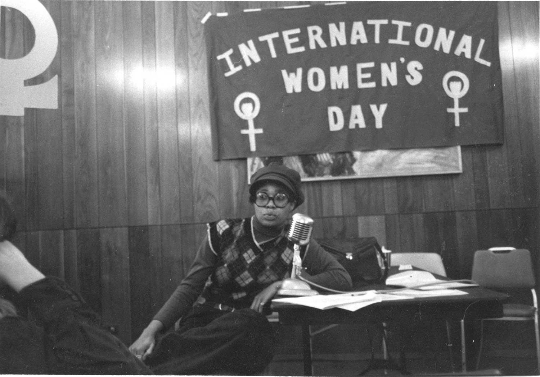Brenda speaks at International Women's Day, 1975