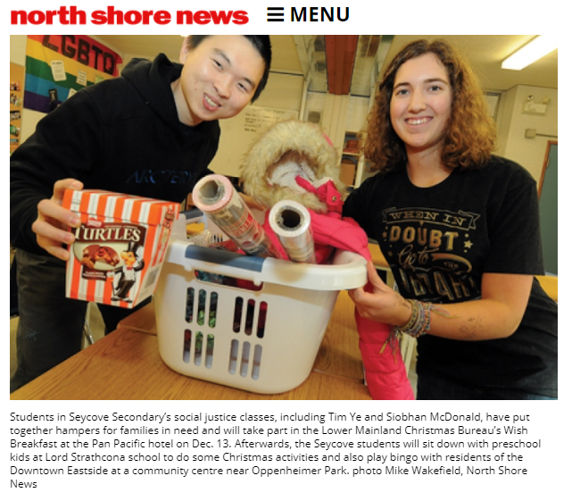 Photo from North Shore News.  See article here:  CRIER COMMENT: Humanitarian holiday