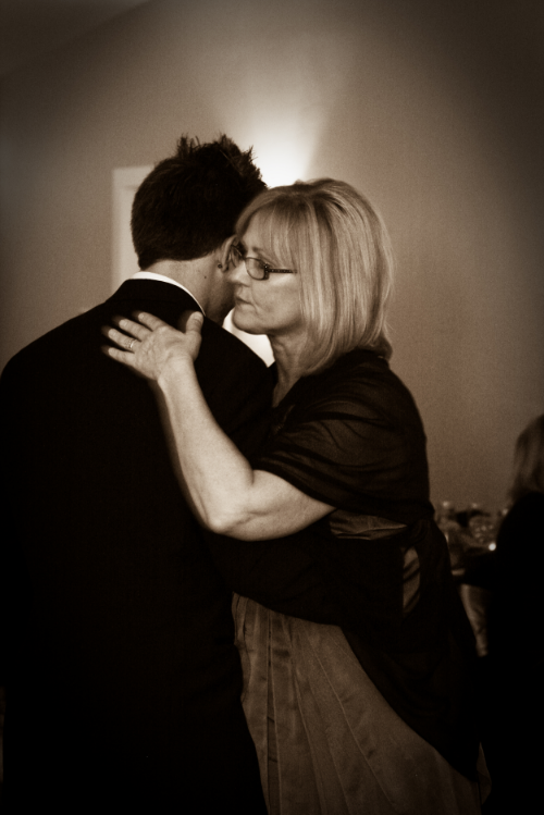 Nick and his mom at our wedding during their mother-son dance.