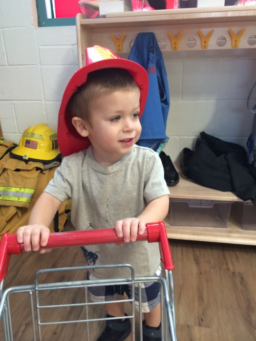 My own personal grocery shopping/ fire fighter is here to protect the museum.