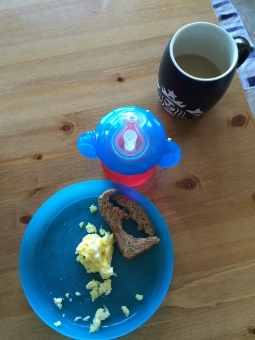 Max had some eggs, toast, and smoothie, and I had a cold cup of coffee and leftovers
