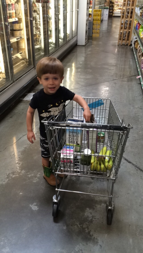 Calvin buying Daddy a green smoothie to get better.