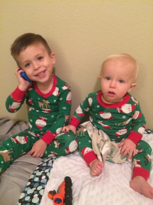 We bought the boys matching Christmas jammies and couldn't resist waiting until December