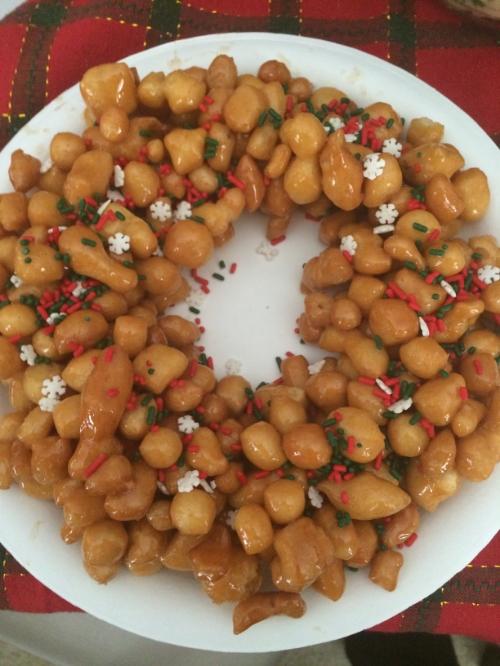My favorite Christmas tradition to make, Fried Struffoli or bonucatta
