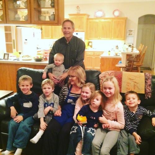 "Nana and Papa with all their grand babies. Calvin refers to all of them as ""The Cousins""!"