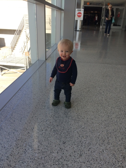 Max definitely loves to make a scene and smiled at every person passing by as he made a long and slow walk to the baggage claim.