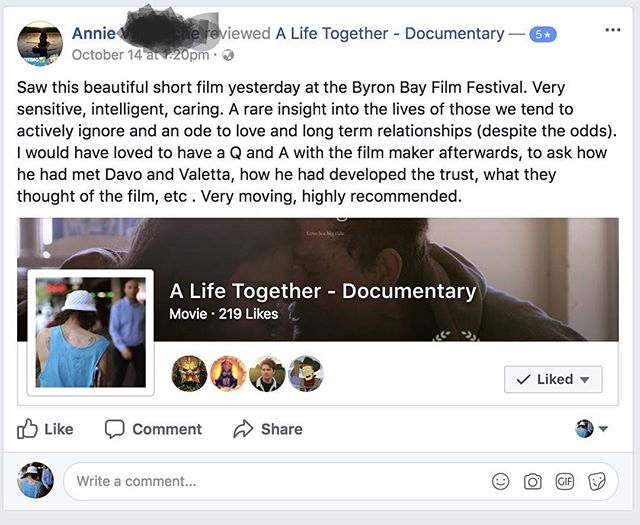 When people say these things about your film it gives you shivers. Good shivers :) I feel very privileged to be in a position to make films about the things I care about, that are recognised and that people write things like this about. It makes all the hard work and pushing through the difficult times worth it.  X